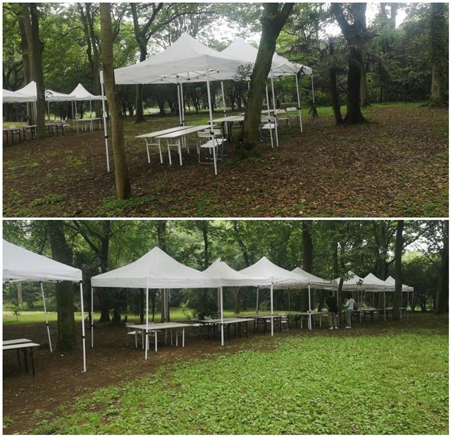杭州植物园送货 帐篷+桌椅摆放 完成