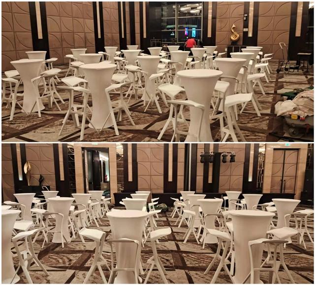 上海香格里拉酒店 桌椅千亿体育下载摆放完成